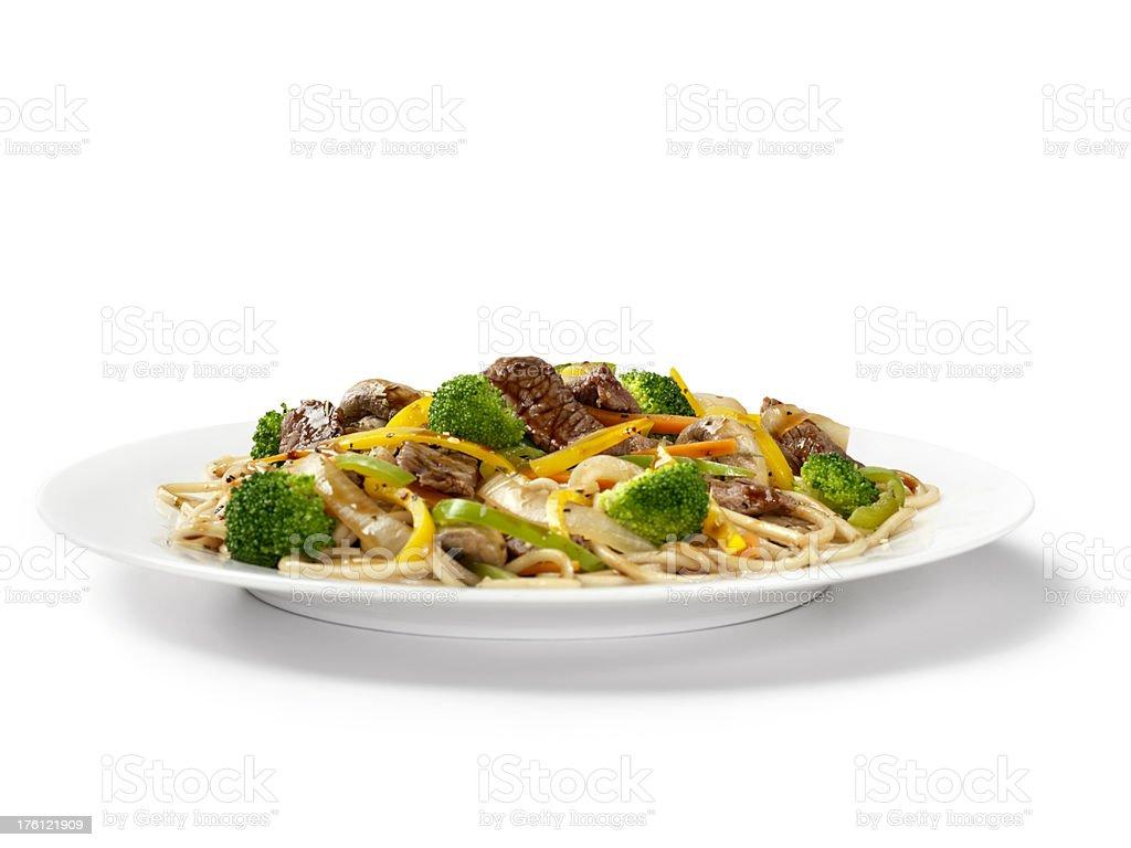 Szechwan Beef with Noodles stock photo