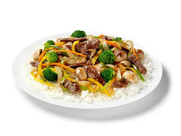 Szechwan Beef with Rice stock photo