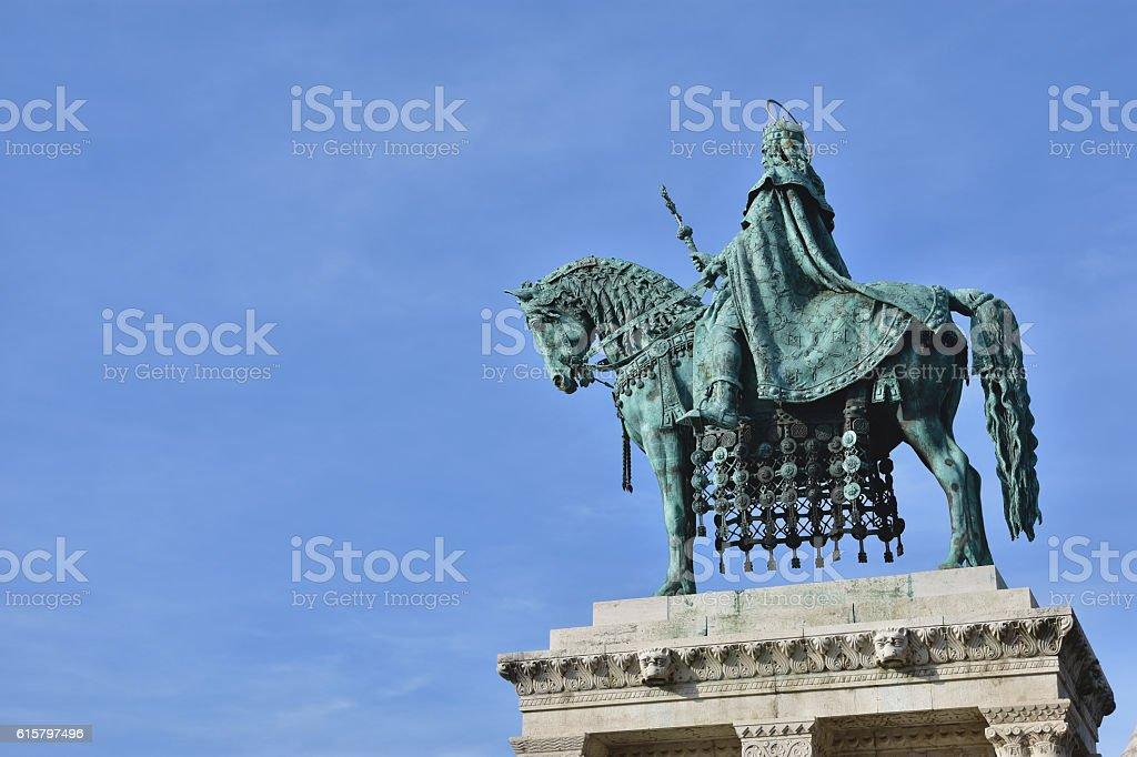 Szent Istvan statue in Budapest stock photo