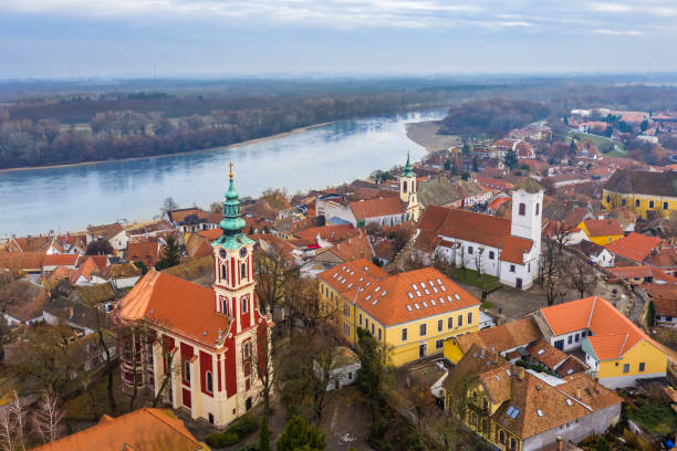 Szentendre, Hungary - Aerial skyline view of Szentendre, the small and lovely riverside town in Pest County stock photo