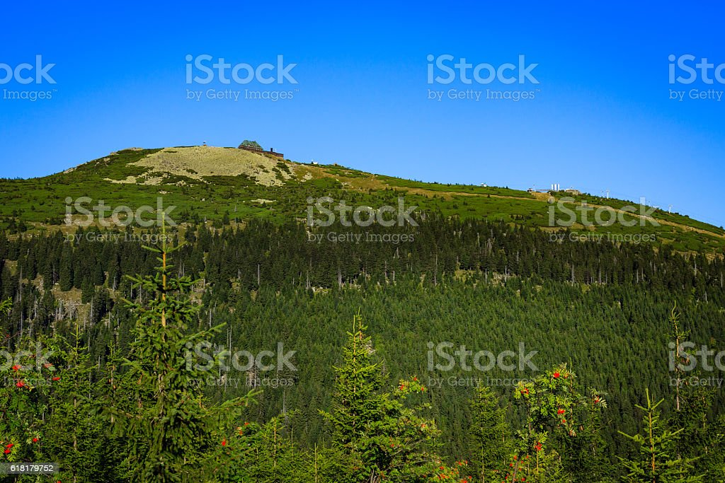 Szrenica hill in the Karkonosze National Park, Sudets in Poland. stock photo