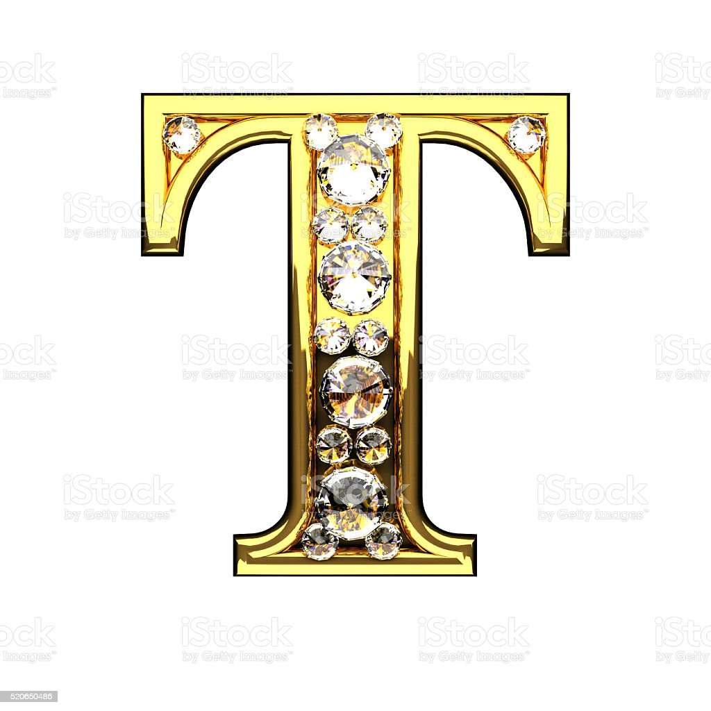 T Isolated Golden Letters With Diamonds On White Stock ...