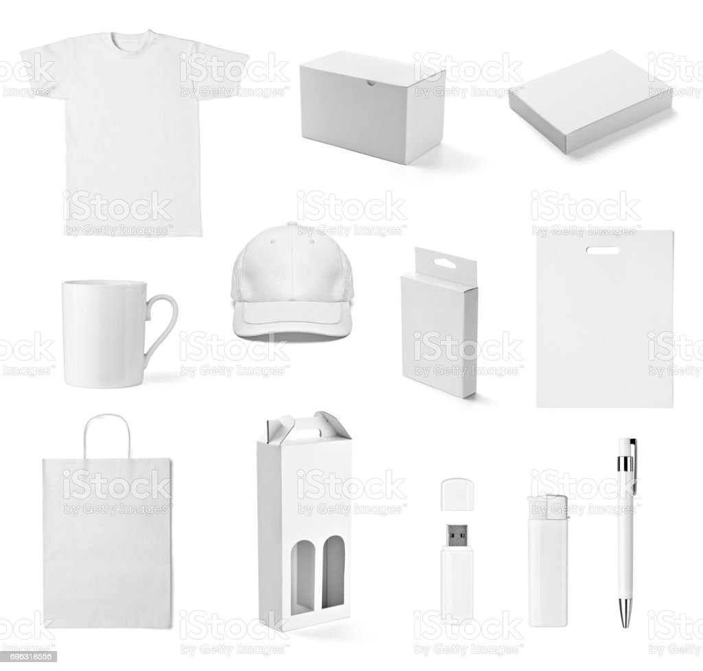 t shirt mug cup cap box pen flash memory bag stock photo