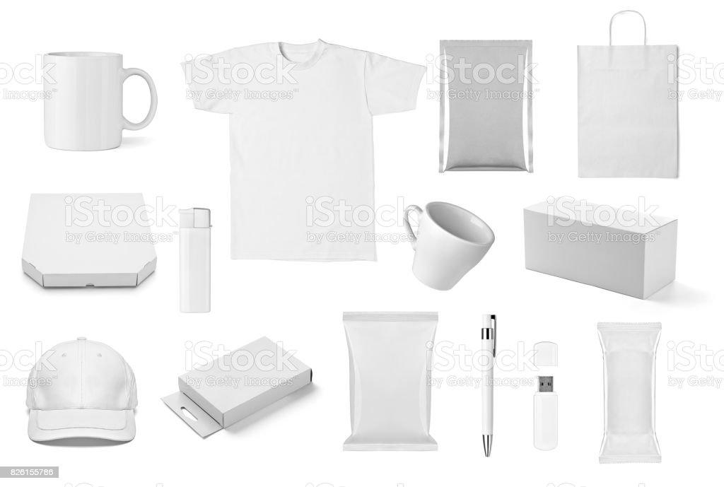 t shirt mug cup cap box pen flash memory bag stock photo