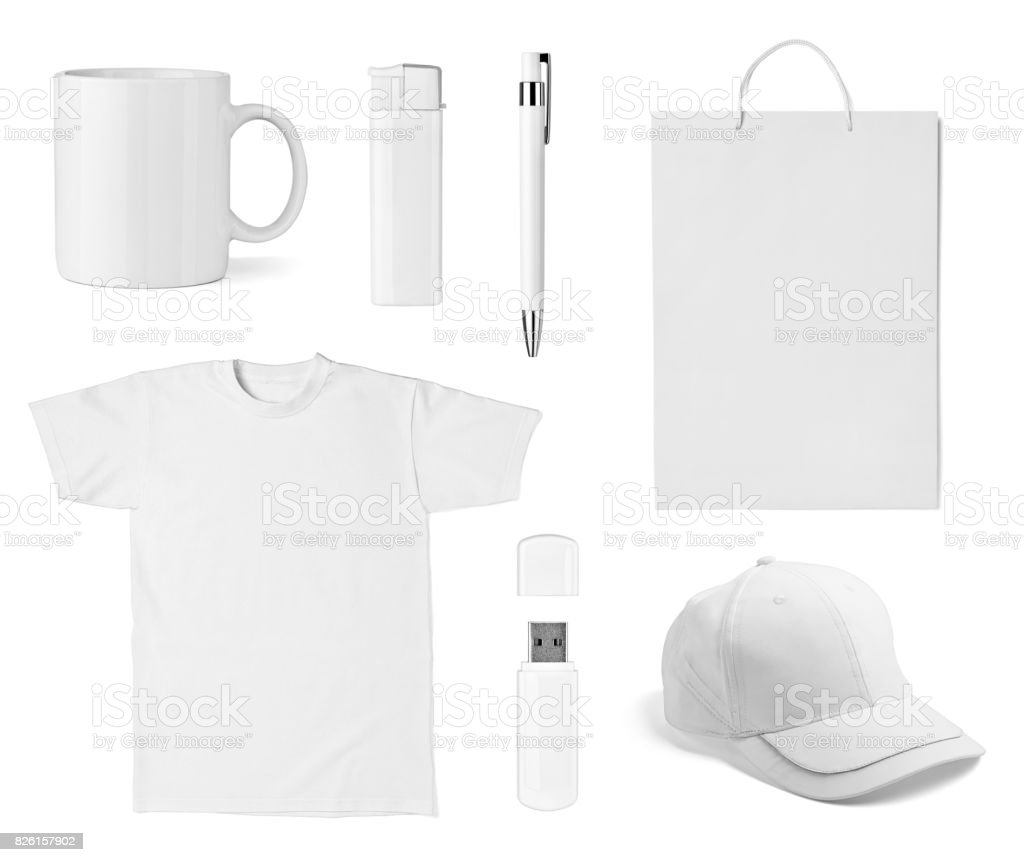 t shirt mug cup cap pen flash memory bag stock photo
