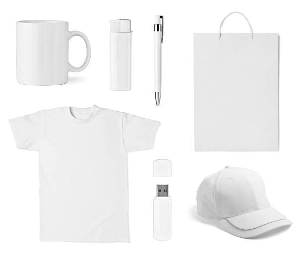 t shirt mug cup cap pen flash memory bag stock photo