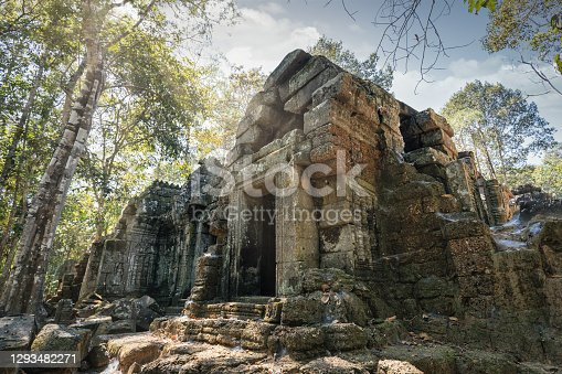Ta Nei Temple surrounded from tropical rainforest in the Angkor Wat Temple Complex Archaeological Area. Ta Nei Temple, East Baray, Angkor Wat, Siem Reap, Cambodia, Southeast Asia, Asia.