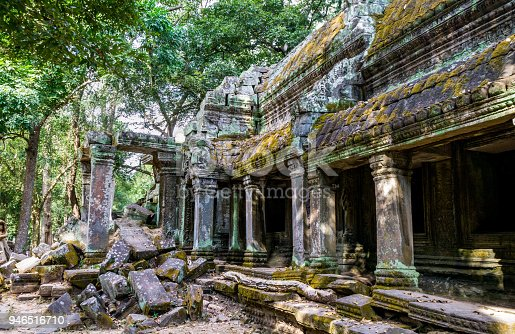 Ta Prohm. The ancient temple of Ta Prohm has been part reclaimed by nature and roots cover the crumbling walls. Part of the Angkor complex of temples at Siem Reap, Cambodia. Photo taken in 2018.