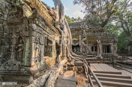 Ta Prohm Angkor Wat Cambodia The ancient temple of Ta Prohm at Angkor Wat, Cambodia where roots of the jungle trees intertwine with the masonry of these ancient structures producing surreal world.