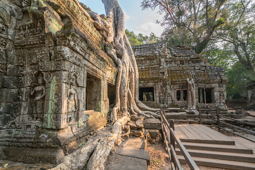 istock Ta Prohm Angkor Wat Cambodia The ancient temple of Ta Prohm at Angkor Wat, Cambodia where roots of the jungle trees intertwine with the masonry of these ancient structures producing surreal world. 961215714