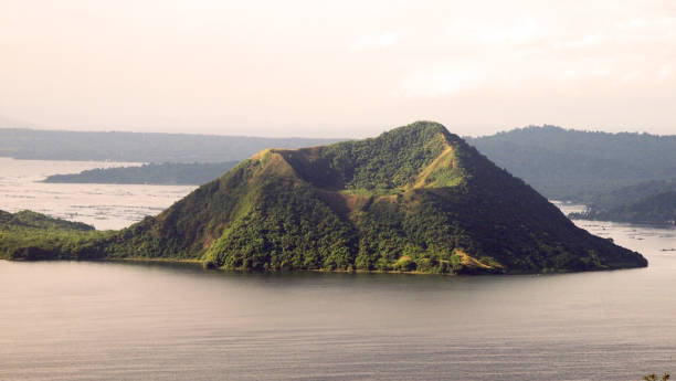 Taal Volcano Island in Taal Lake in province of Batangas, Philippines volcano crater island volcano stock pictures, royalty-free photos & images