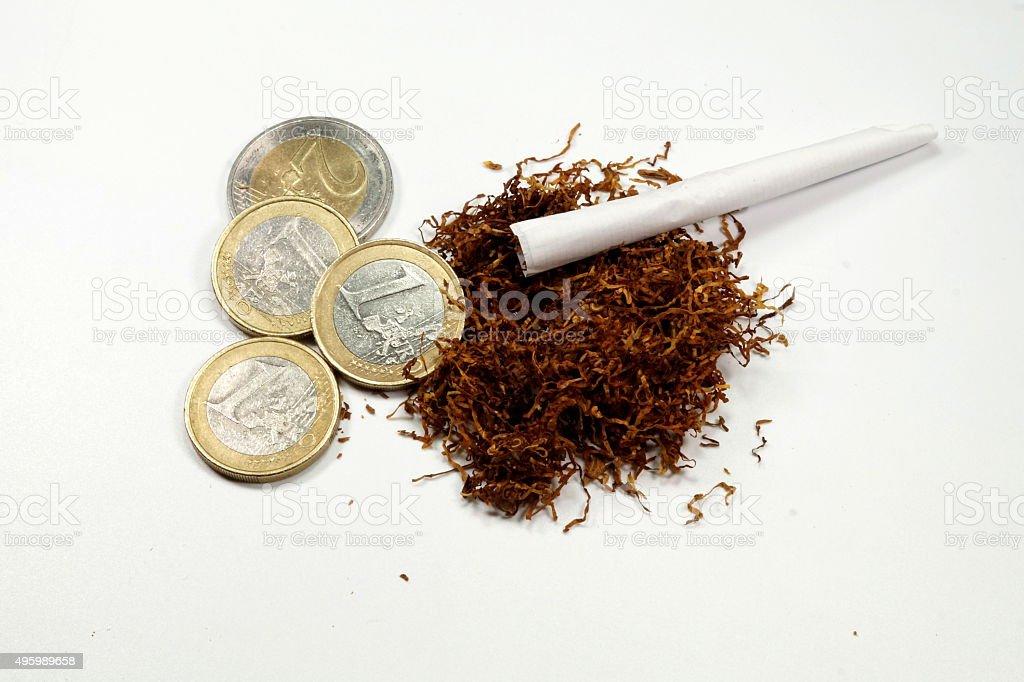 Tabak Geld stock photo