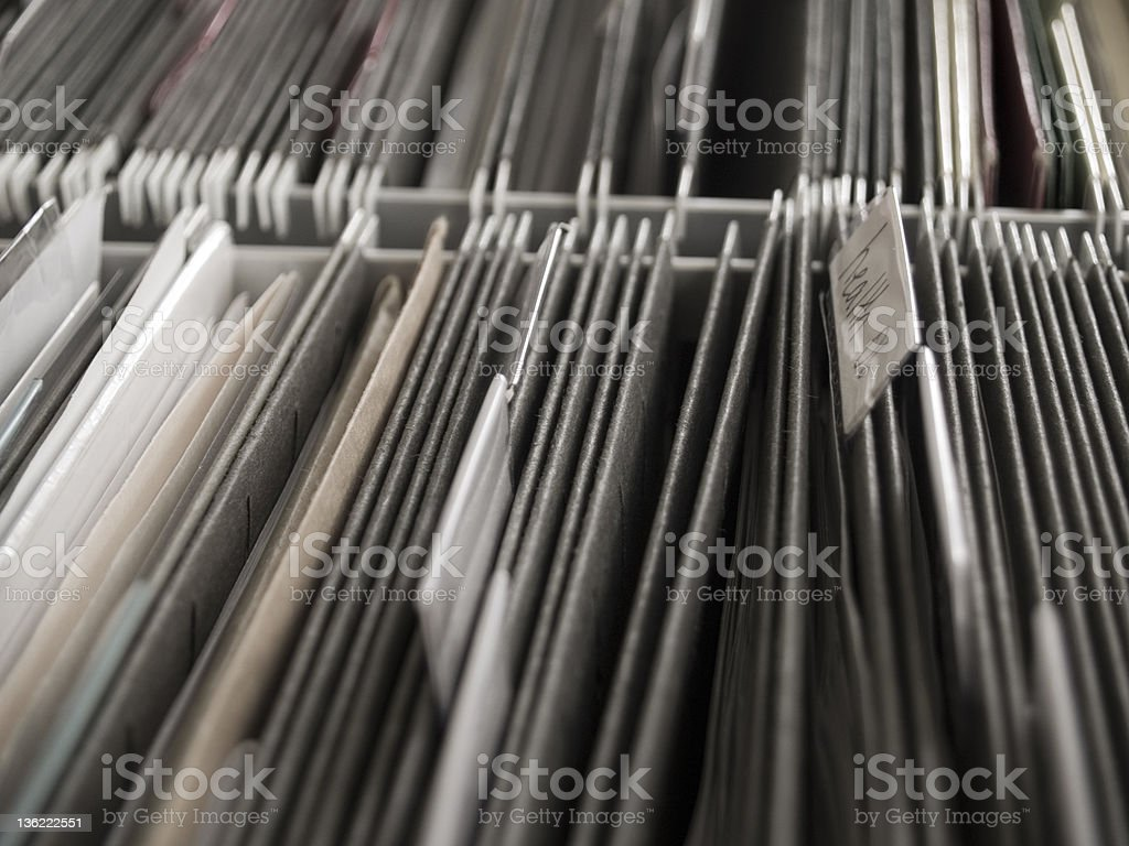 Tabbed Hanging folder in file cabinet royalty-free stock photo
