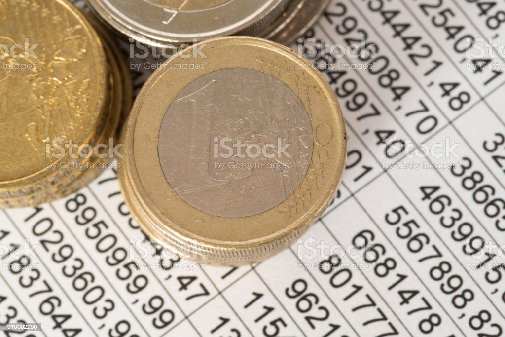 Tabellenkalkulation Und Euro Geld Münzen – Foto