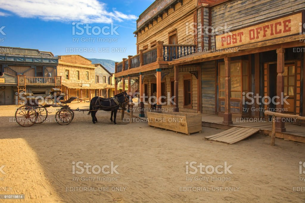 Tabernas desert, post office movie location spaghetti western Andalusia, Spain stock photo