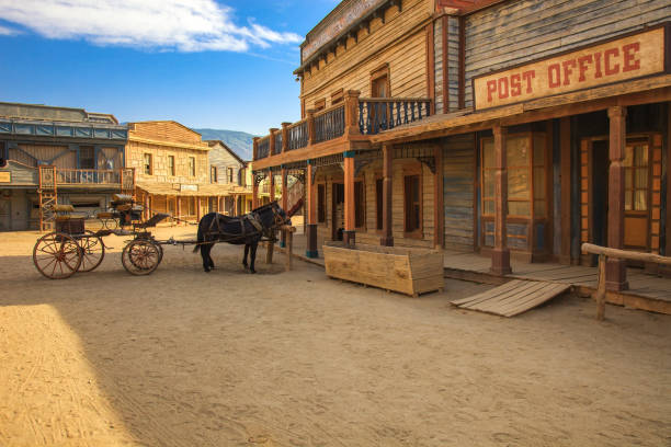 tabernas desert, post office movie location spaghetti western andalusia, spain - town stock pictures, royalty-free photos & images