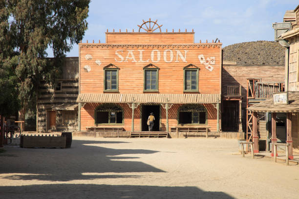 tabernas desert, saloon movie location spaghetti western andalusia, spain - western town stock photos and pictures