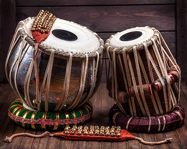 tabla drums and bells for dancing - classical stock photos and pictures