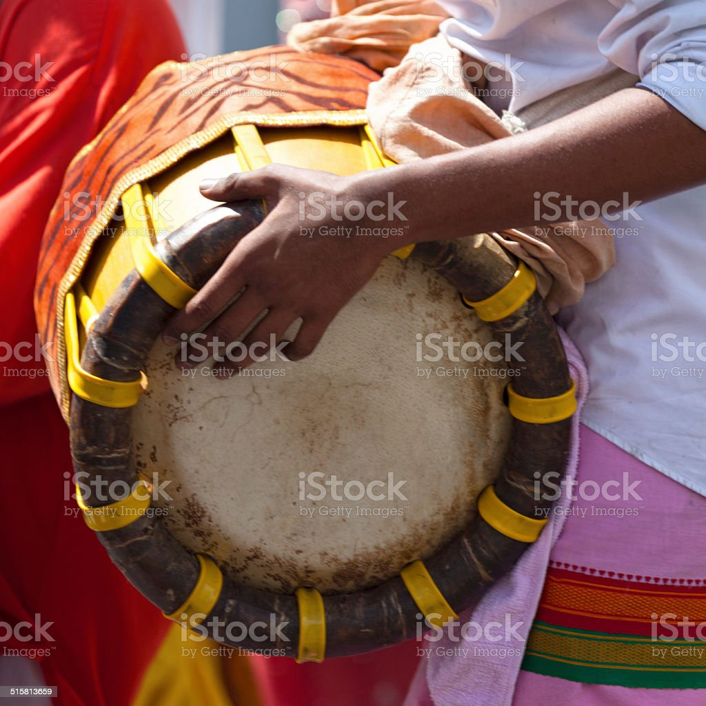 Tabla in the hands of a musician stock photo