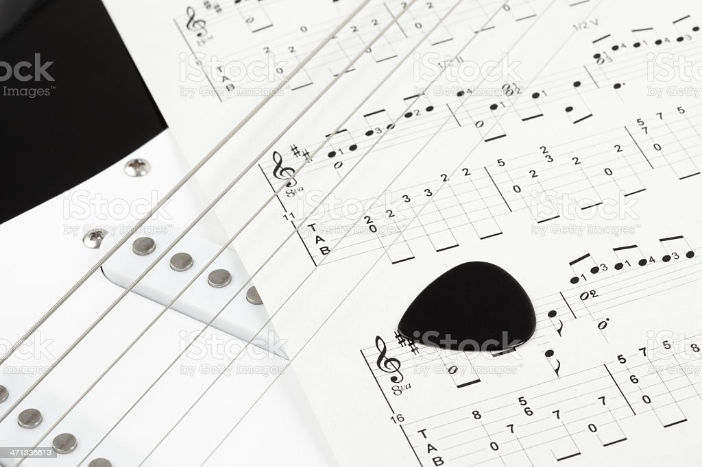 Tablatures for guitar stock photo