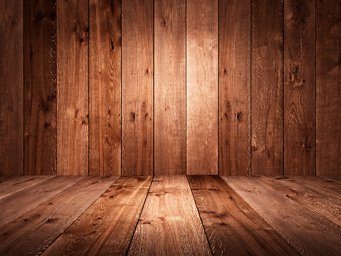 Table and background of aged planks. Texture of old boards. Vintage style. 3D render.
