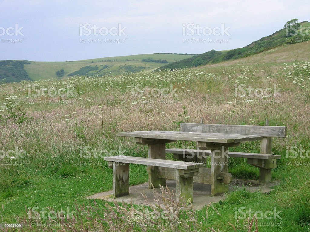 Table and Bench at Looe royalty-free stock photo