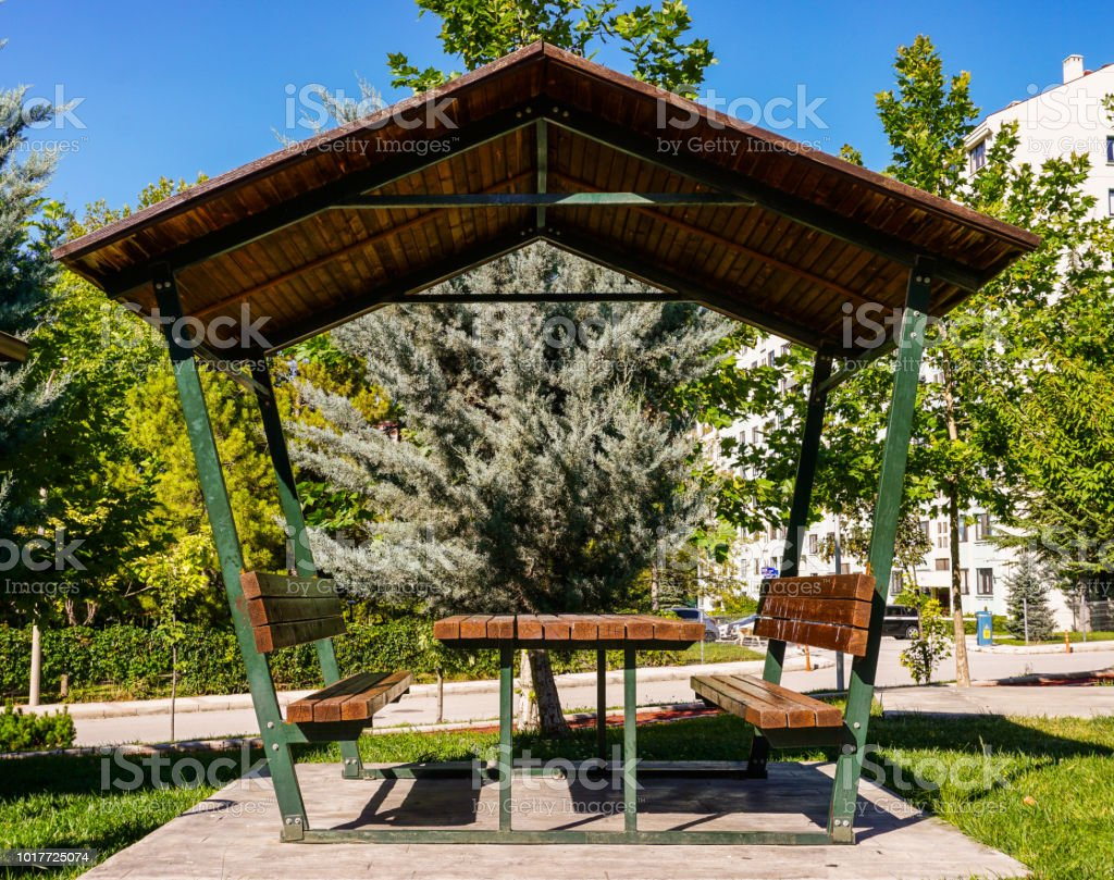 Peachy Table And Bench In Wooden Pergola Stock Photo Download Forskolin Free Trial Chair Design Images Forskolin Free Trialorg