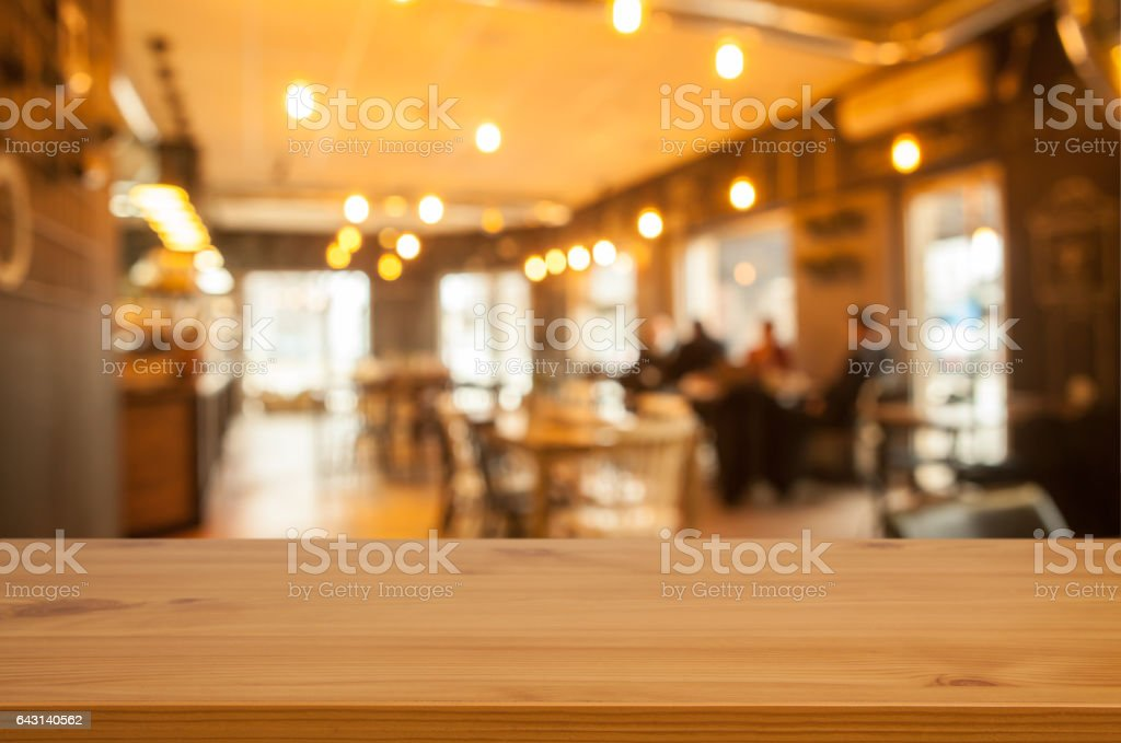 Table and blured cafe stock photo