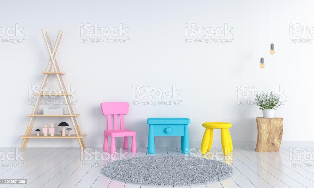 Tisch Und Stuhl In Weißen Kinderzimmer Für Mockup 3d Rendering ...