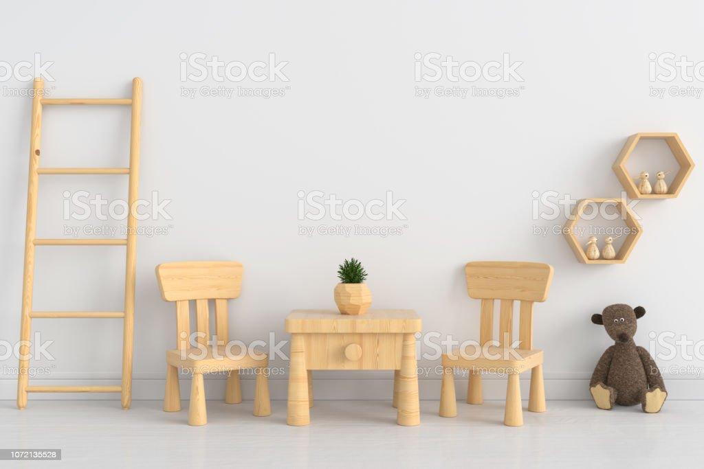 Tisch Und Stuhl In Weißen Kinderzimmer Für Mockup 3d ...