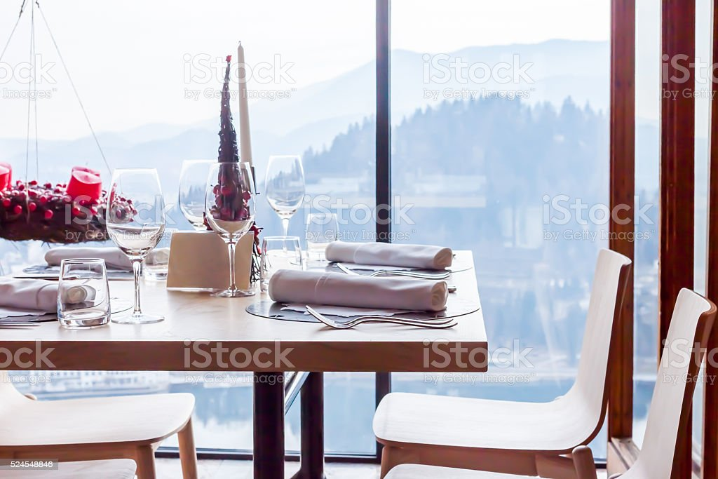 table and chairs in the restaurant stock photo