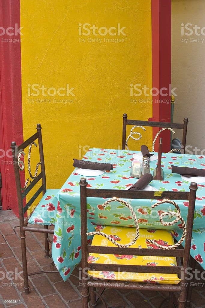 table and chairs on patio Mexican Restaurant stock photo