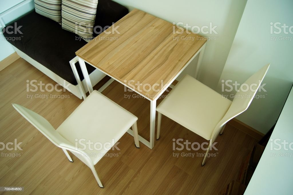 table and chairs stock photo