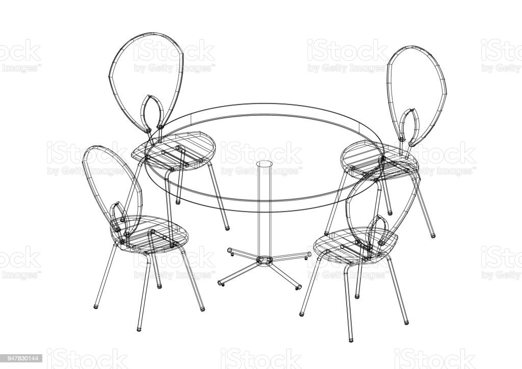 Table And Chairs Set 3d Blueprint Isolated Stock Photo - Download Image Now
