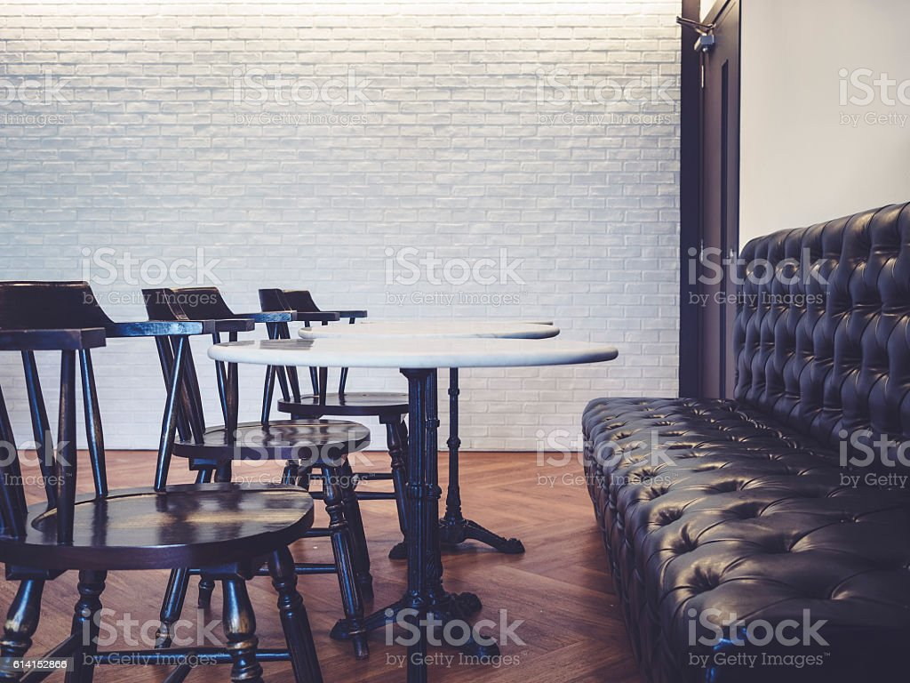Table and seats with sofa Bar Restaurant Interior stock photo