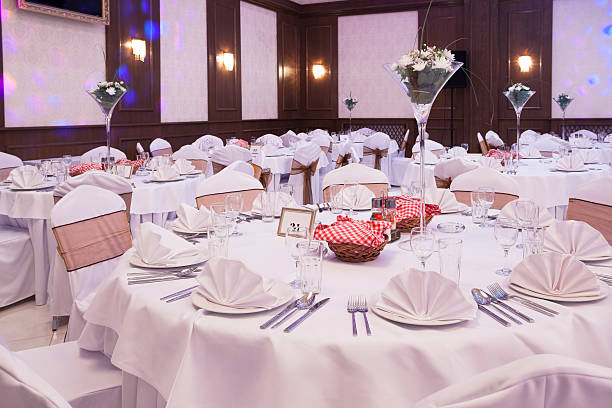 Table arrangement at banquet hall stock photo