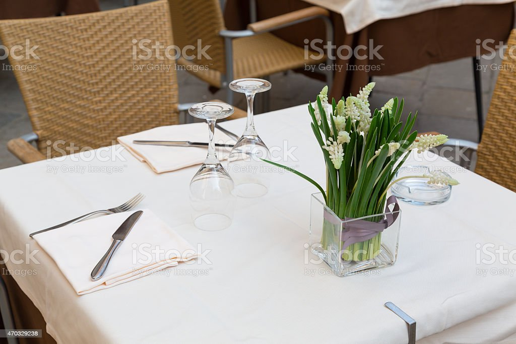 Table at a Restaurant in Venice stock photo