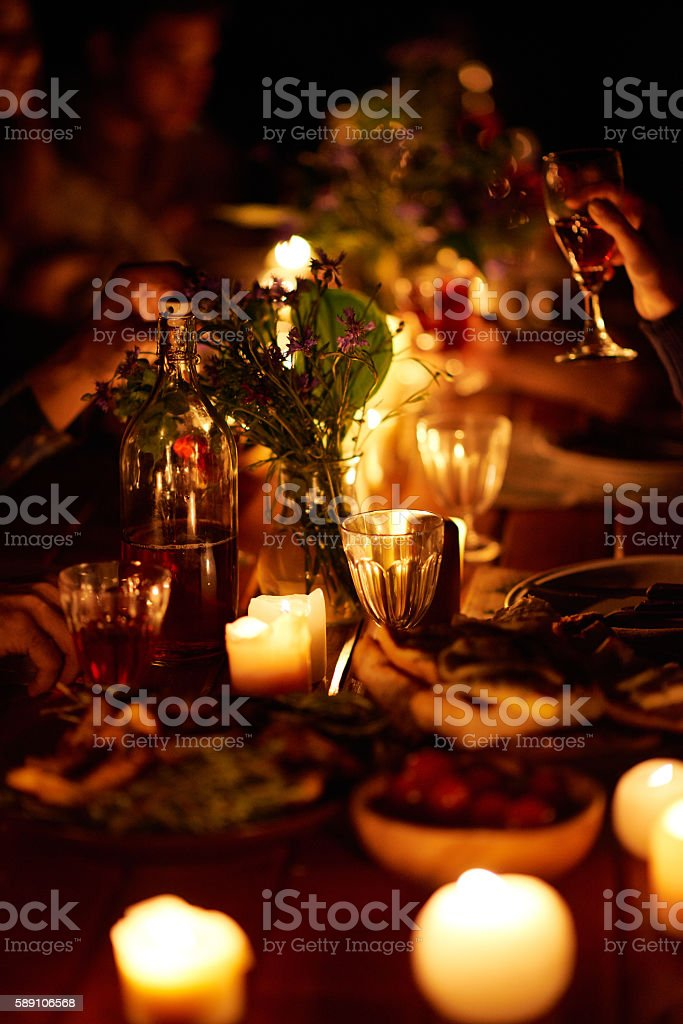 Table at night stock photo
