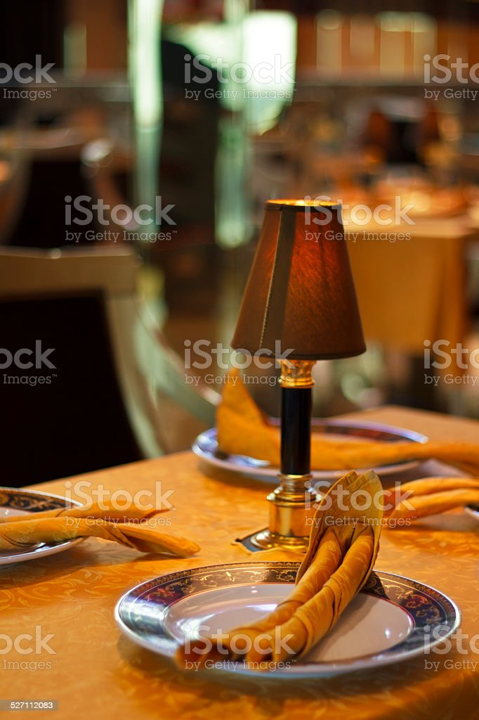 Table at the restaurant stock photo