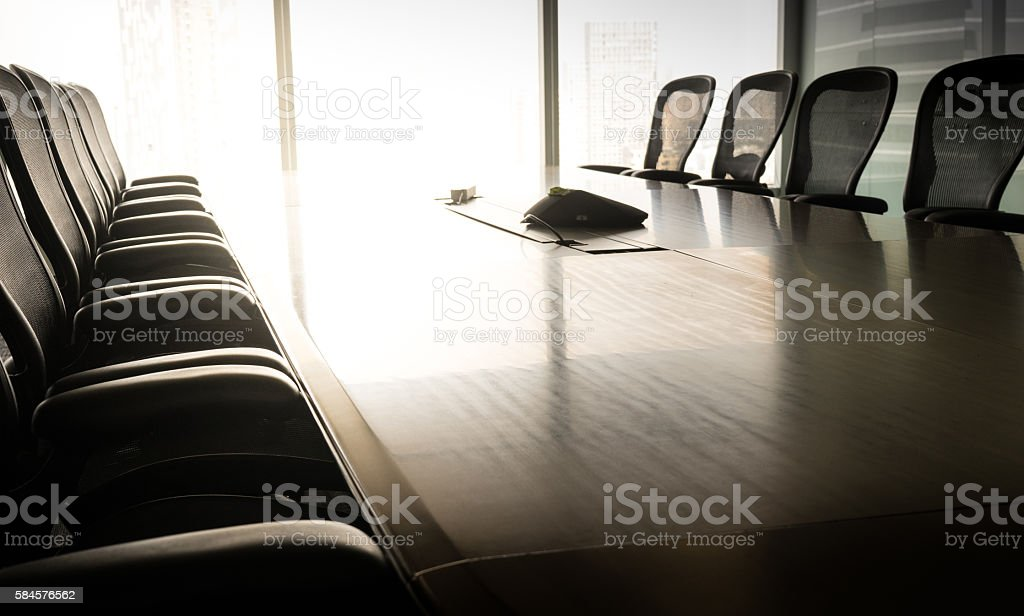 Table boardroom with chair in morning / meeting associate stock photo