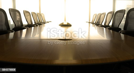 istock Table boardroom with chair in morning / meeting associate 584579908