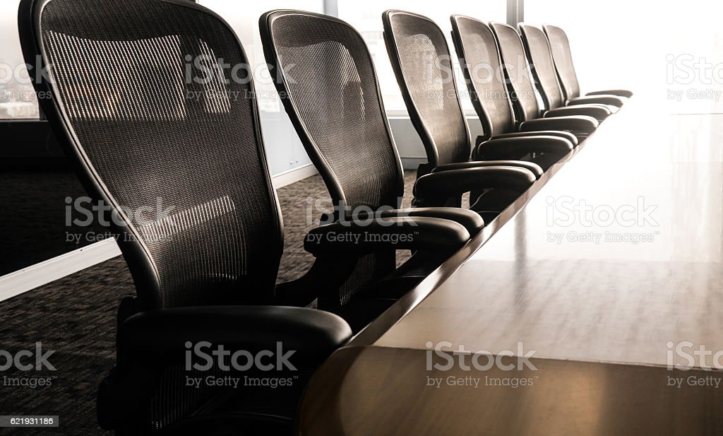 Table boardroom with chair in morning /meeting associate stock photo