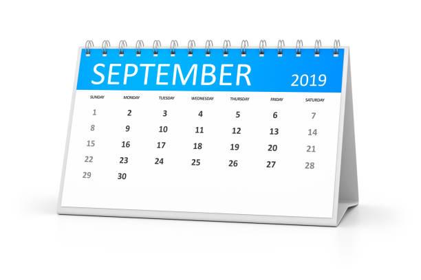 tischkalender september 2019 - kalender icon stock-fotos und bilder