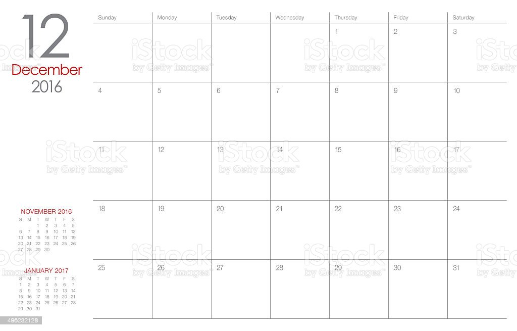 table calendar- December 2016 stock photo