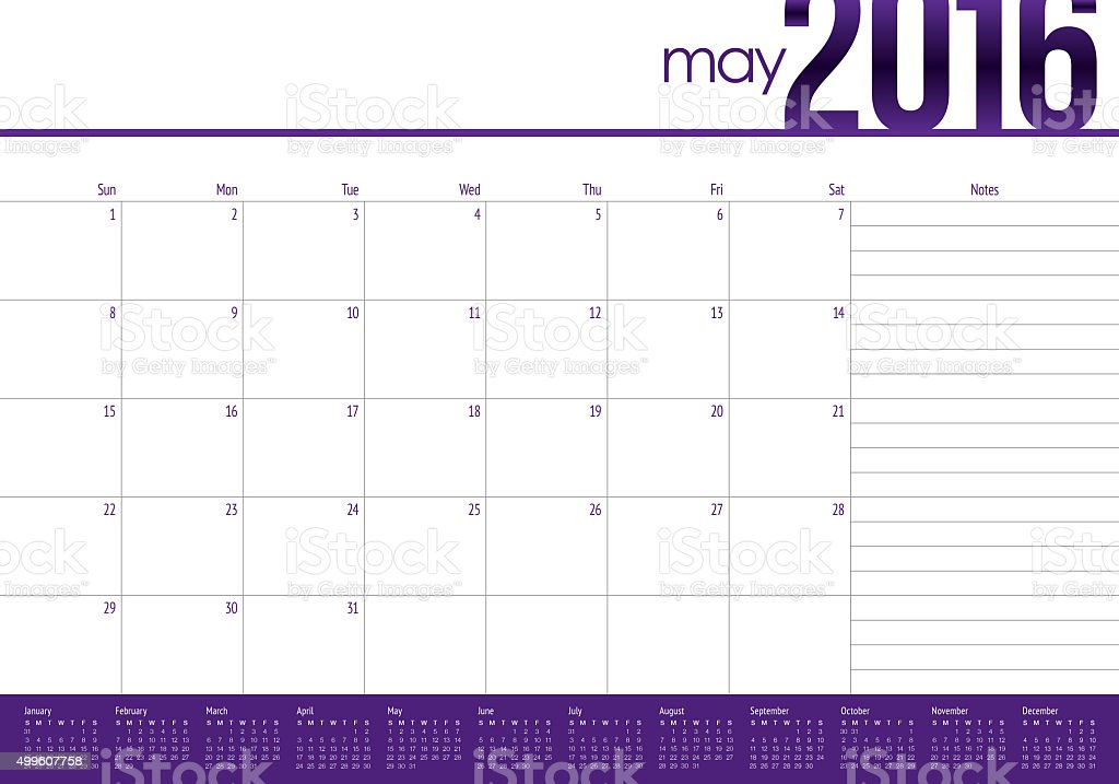 table calendar- May 2016 stock photo