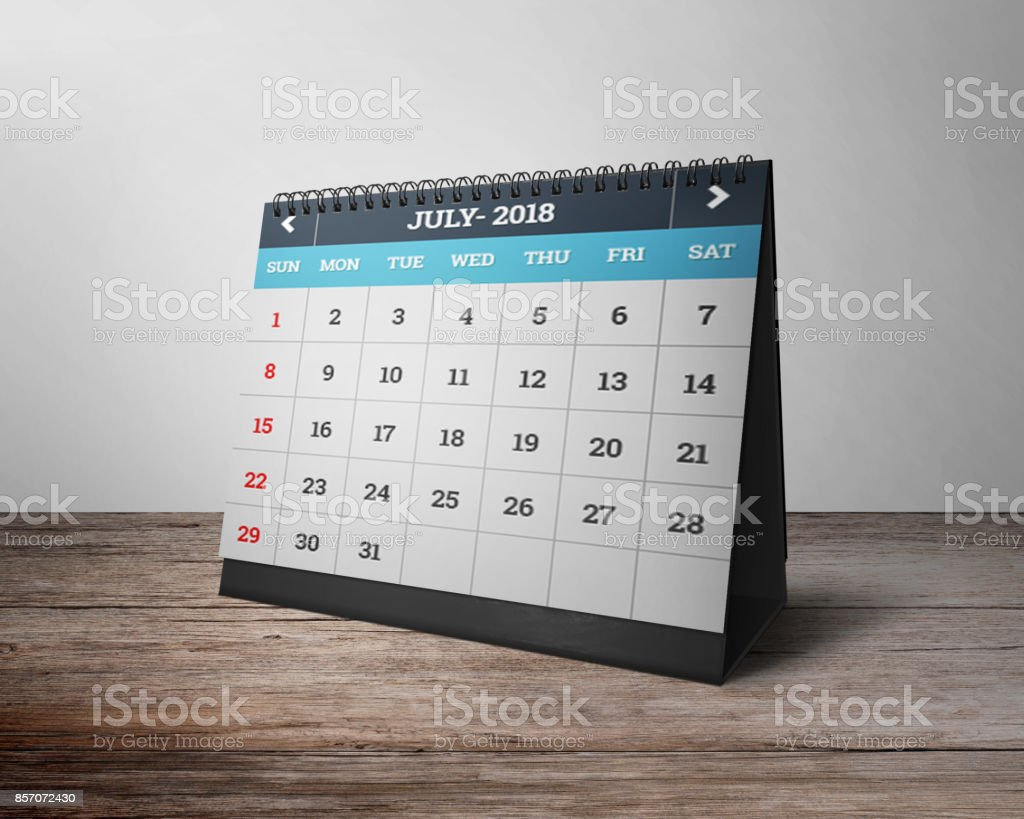 table calendar month of july 2018 royalty free stock photo