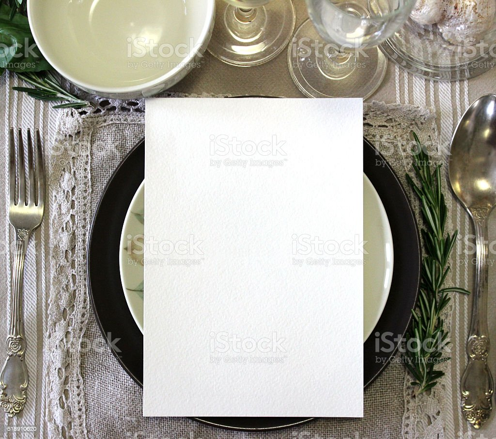 Table card mockup, menu mockup.  Vintage fashion photography. stock photo