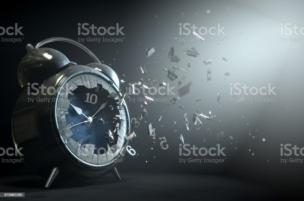Table clock time smashed screen 1 stock photo