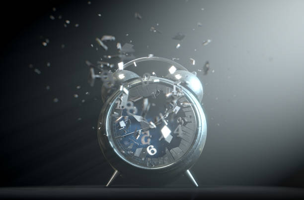 Table clock time smashed screen 5 stock photo