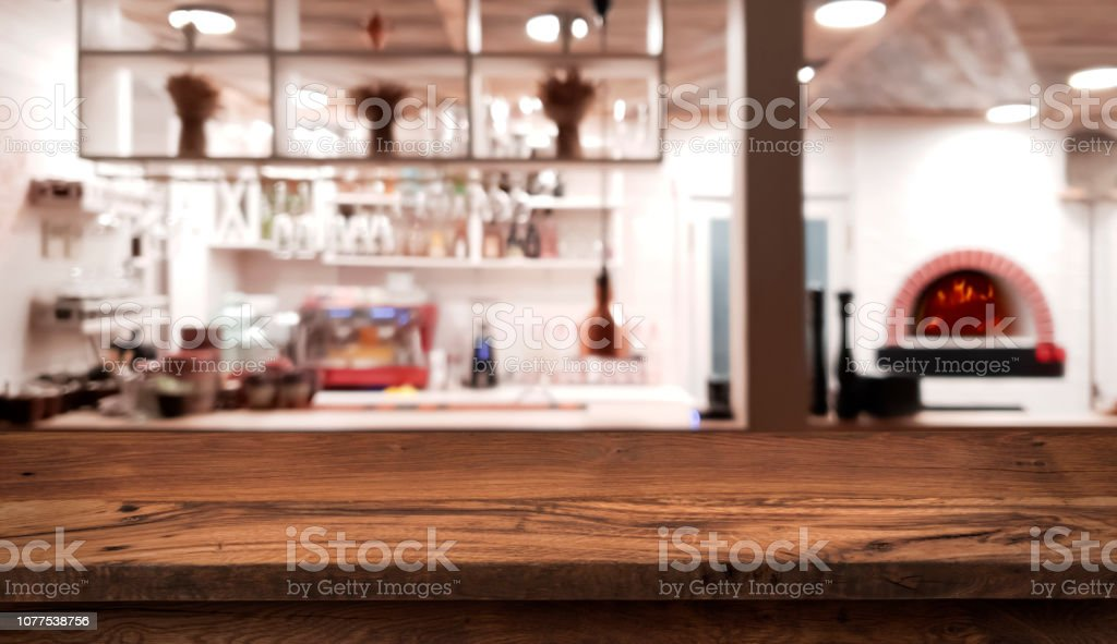 Table Counter On Blurred Interior Of Rustic Style Restaurant Kitchen Stock Photo Download Image Now Istock